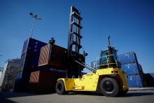 Stacking up to 8 high is no problem for the Hyster empty container handler