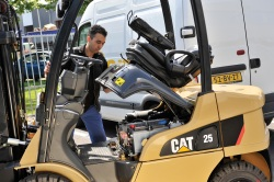 What powers a Cat<sup>®</sup> lift truck Electric powered lift truck? Click to visit www.catliftpower.com