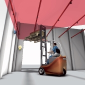Monitoring the forklift height. Click to visit the website.