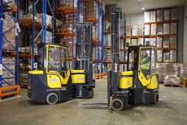 Aisle-Master Very Narrow Aisle articulated forklift available in electric and LPG. Click for more information.