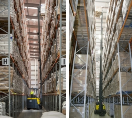 Left: Impressive lifts heights of up to 15m available. Right: Works in narrow aisles for vastly increased storage density. Click for more information.