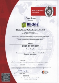 In 1994 Blickle was the first German wheel and castor manufacturer to be granted ISO 9001 certification.