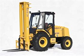 The HP8500 rough-terrain forklift with optional cab is one of three models manufactured by Harlo Products.