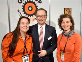 CeMAT's Wolfgang Pech with Yvette O'Connor and Ann Hofmans from Forkliftaction.com