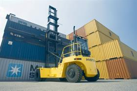 A Hyster empty container handler at work.