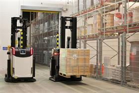 Rocla AGVs operate in areas where there are also manual forklifts and people