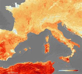 Europe bakes as temperatures rise. PHOTO: European Space Agency