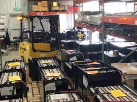 The new DC uses forklifts powered by lithium-ion