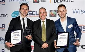 Blake Kelly  and Val Brusylovsky received their Future Leader Awards from Steve Rowland, NSW business manager of LMA