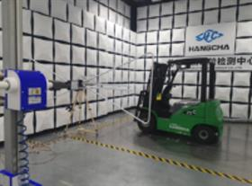 Hangcha XC series electric forklift undergoing electro-magnetic compatibility testing