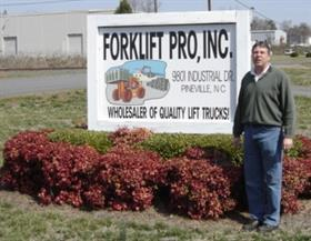 Tim Smith at Forklift Pro's Pineville, North Carolina headquarters.