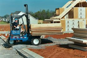 A Princeton forklift delivering pre-fabricated wall panels.