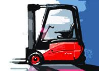 An illustration of Linde's newest electric counterbalance forklift, the E12-E20 range (386 series).