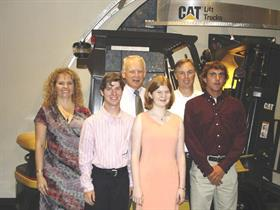 Front (L to R): Jason Fochtman, Emily Fortuna and Carl Jaynes. Back (L to R): Teresa Webb, Cat Lift Trucks Marketing Communiations Programs Director; Don Henn, MCFA Director of Dealer Services; and Terry Foster, Mustang Industrial Equip.