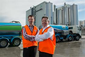 Canterbury operations manager Richard Gray, and director Logistics Network, Robert Spurway, stand in front of the world's largest milk powder drier at Fonterra's Darfield site.