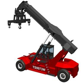 Taylor TS9973 reachstacker equipped with attachment for transporting wind tower and parts