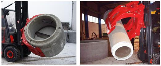 Robust Concrete Pipe Handler to lift, carry and rotate pipes in full safety.